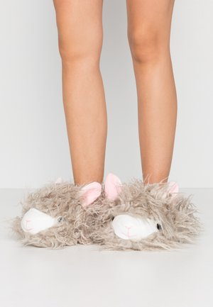 SHAGGY HAIR ALPACA SLIPPER - Slippers - grey