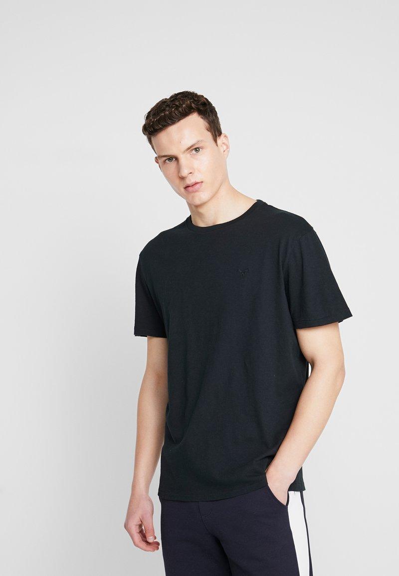 American Eagle - SLUB CREW NECK - Basic T-shirt - black