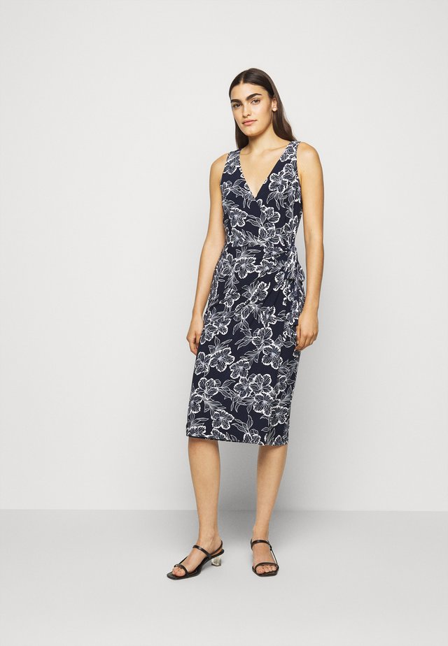 PRINTED MATTE DRESS - Jerseykjoler - lighthouse navy
