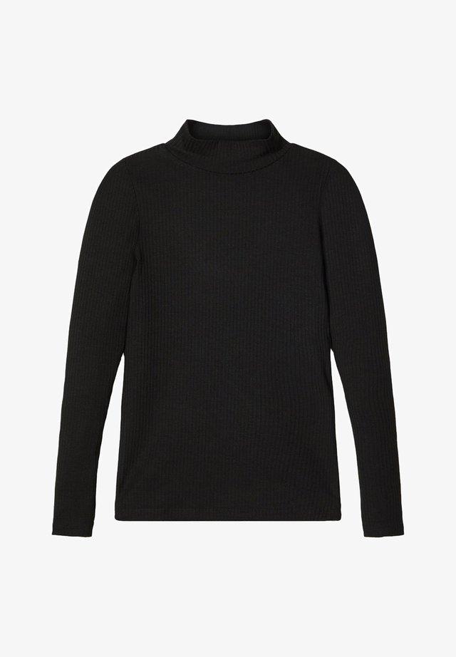 T-SHIRT LANGÄRMELIGES STEHKRAGEN - Top sdlouhým rukávem - black