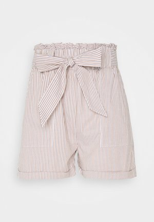 ONLSMILLA STRIPE BELT - Shorts - toasted coconut/white