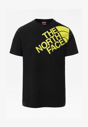 T-shirt z nadrukiem - tnfblack/sulphurspringgrn