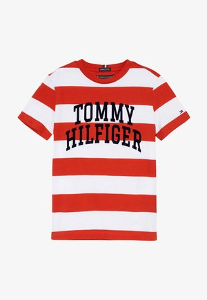 RUGBY STRIPE GRAPHIC TEE - T-shirt imprimé - red