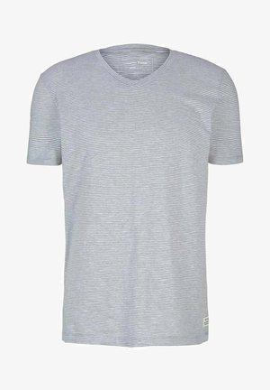 Print T-shirt - olive white yd melange stripe