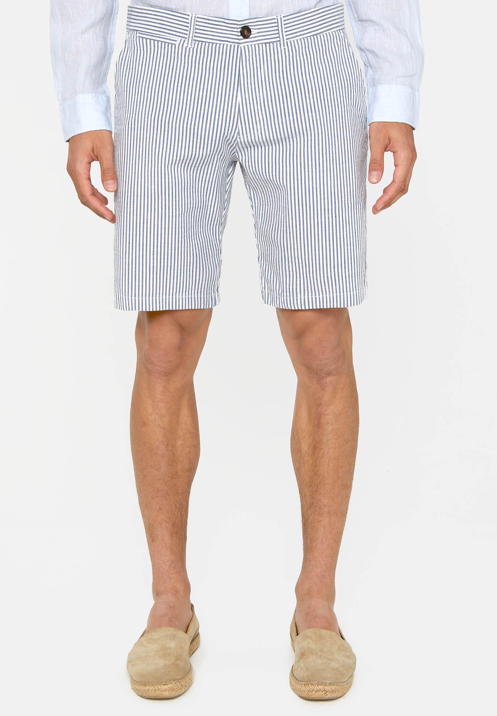 Herren WE FASHION HEREN GESTREEPT CHINOSHORT - Shorts