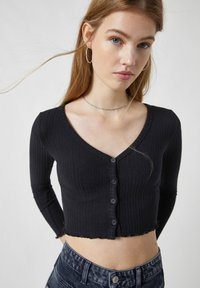 PULL&BEAR - Cardigan - mottled black - 3