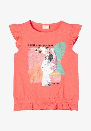 MET OMKEERBARE PAILLETTEN - Print T-shirt - light orange