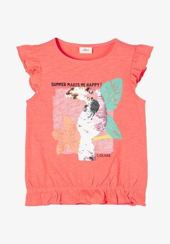 MET OMKEERBARE PAILLETTEN - T-Shirt print - light orange