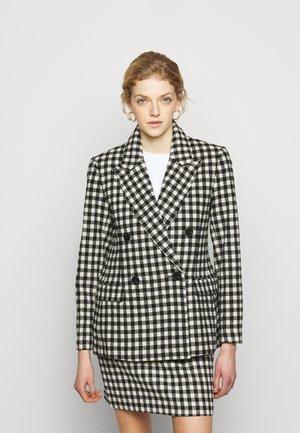 MACADAMIA CHECK - Short coat - black