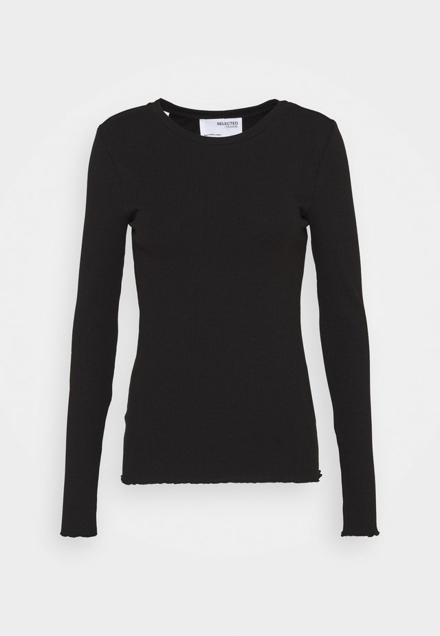 SLFANNA CREW NECK TEE - Long sleeved top - black