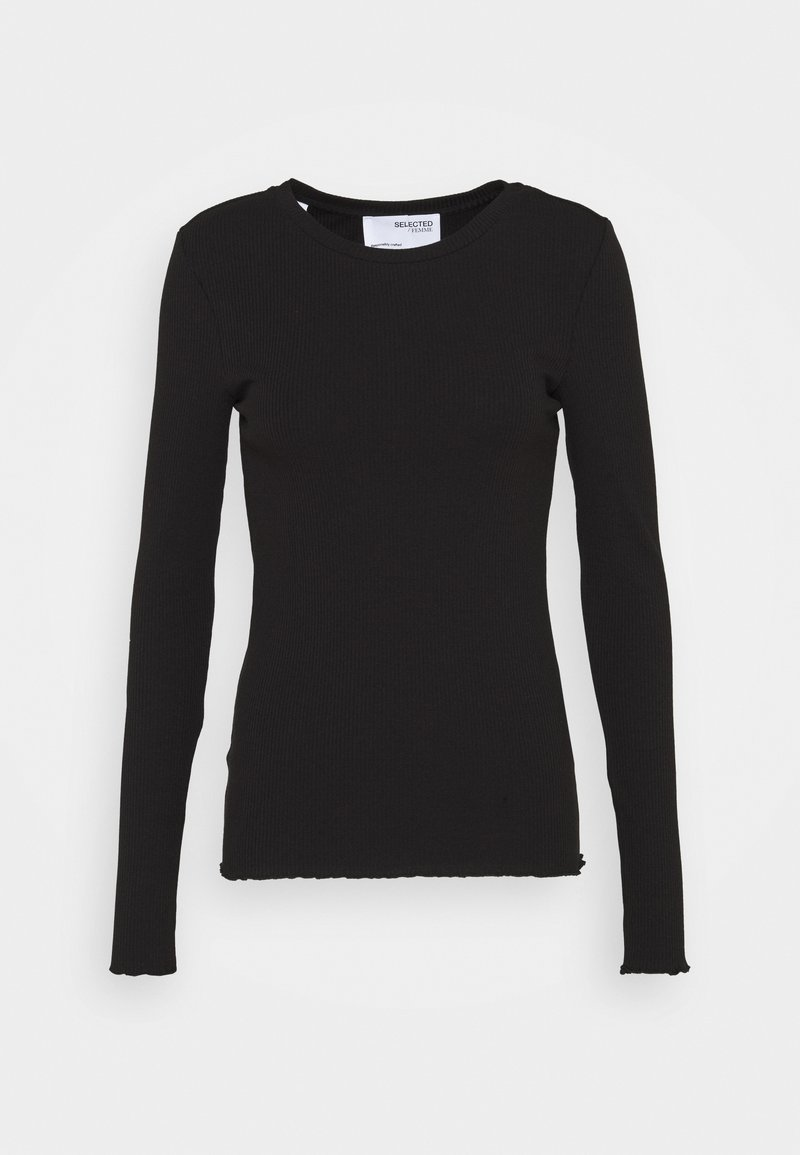 Selected Femme Tall - SLFANNA CREW NECK TEE - Long sleeved top - black