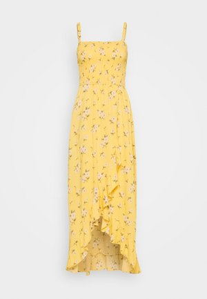 HI-LOW SMOCKED MIDI DRESS - Vestido largo - yellow