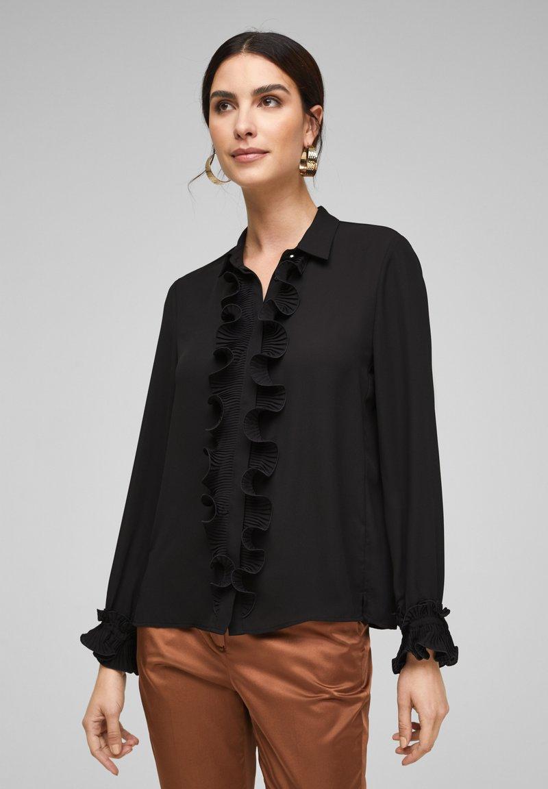 s.Oliver BLACK LABEL - MET GEPLOOIDE VOLANTS - Button-down blouse - black