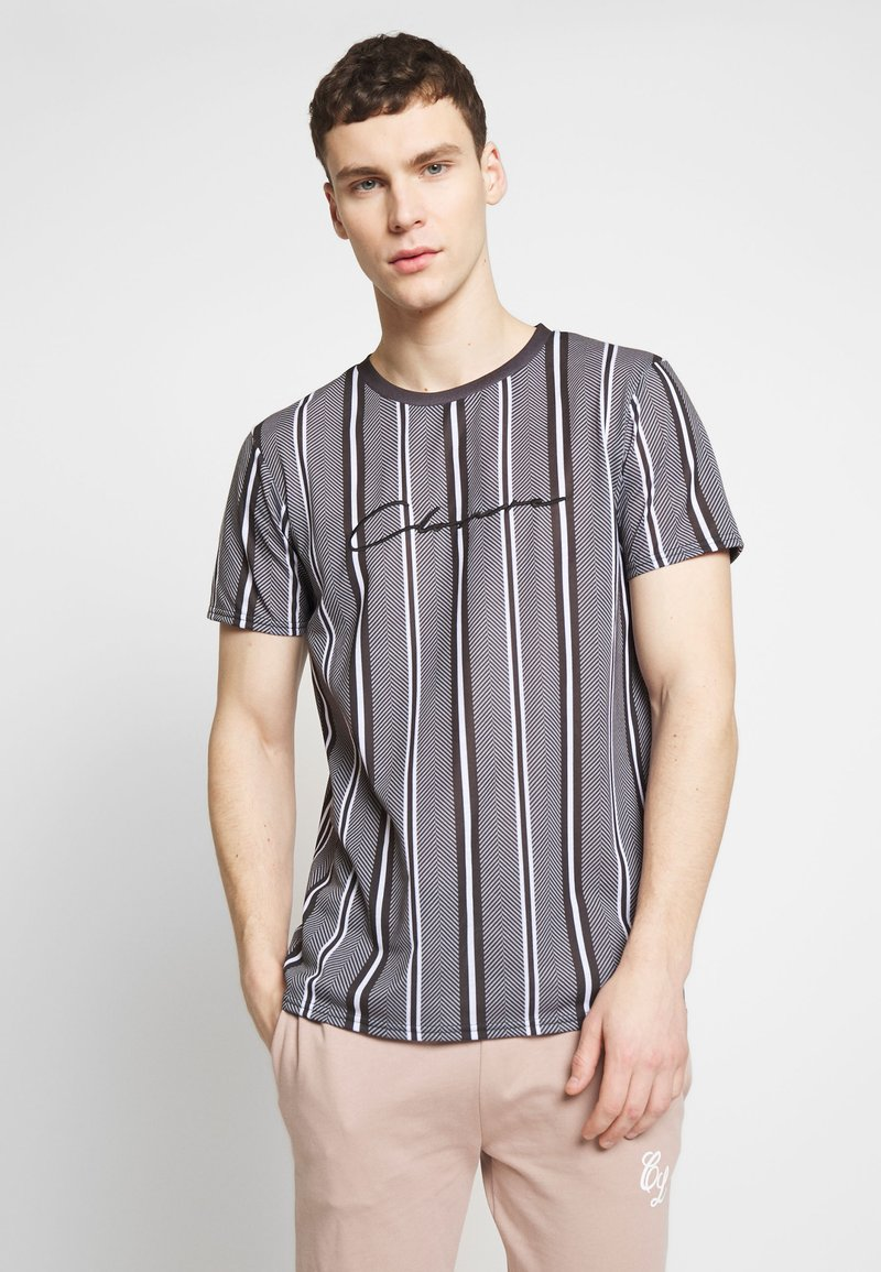 CLOSURE London - STRIPE HERRINGBONE TEE - T-shirt con stampa - grey