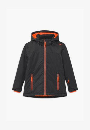 BOY SNAPS HOOD - Skijakker - antracite/orange fluo