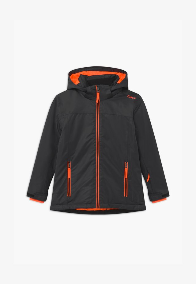BOY SNAPS HOOD - Skijakker - antracite/orange fluo