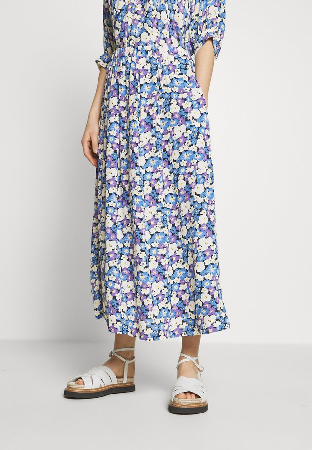 LONG SEVERIN - A-line skirt - chalk/violet