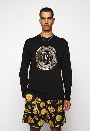 LOGO - T-shirt à manches longues - black/gold