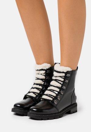 LENNOX LACE COZY - Lace-up ankle boots - black