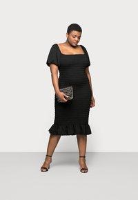 New Look Curves - SHIRRED PLAIN BARDOT MIDI - Day dress - black - 1
