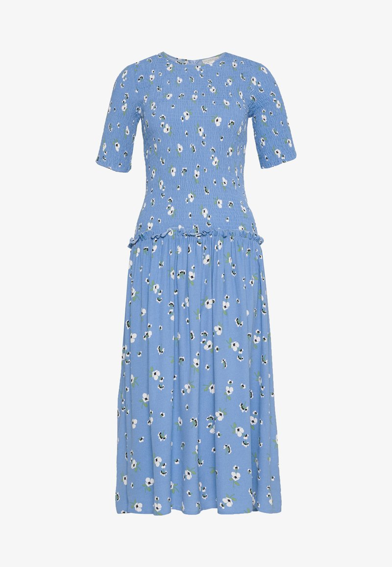 Never Fully Dressed - RUCHED FLORAL DRESS - Day dress - blue