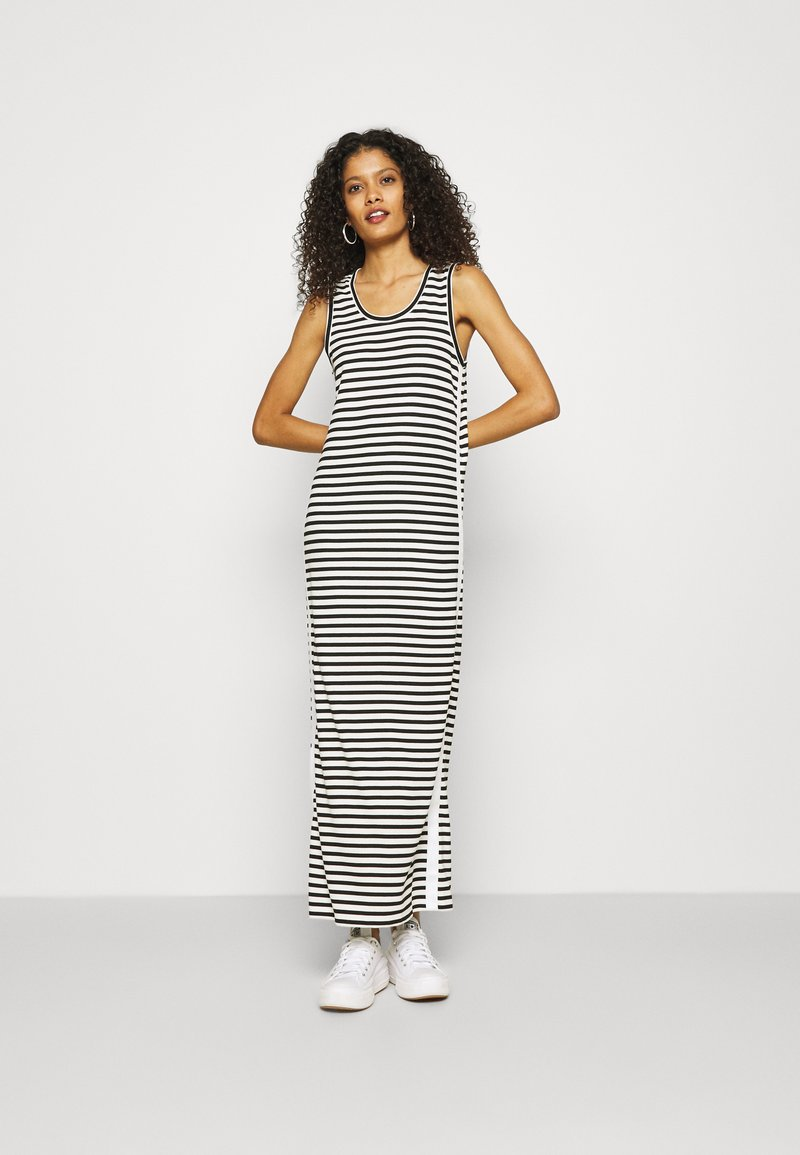 Calvin Klein - LOGO SCOOP MAXI DRESS - Maxi-jurk - black/bright white