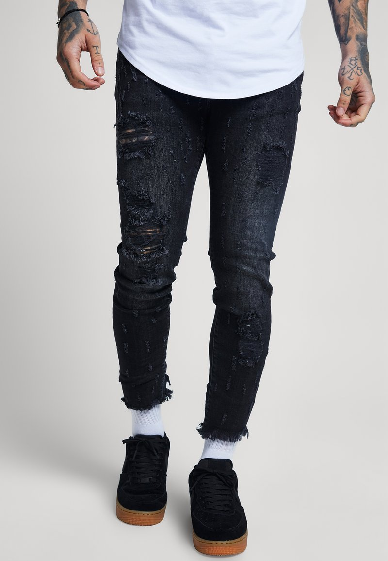SIKSILK - RAW CUFF CROPPED - Jeans Skinny Fit - black