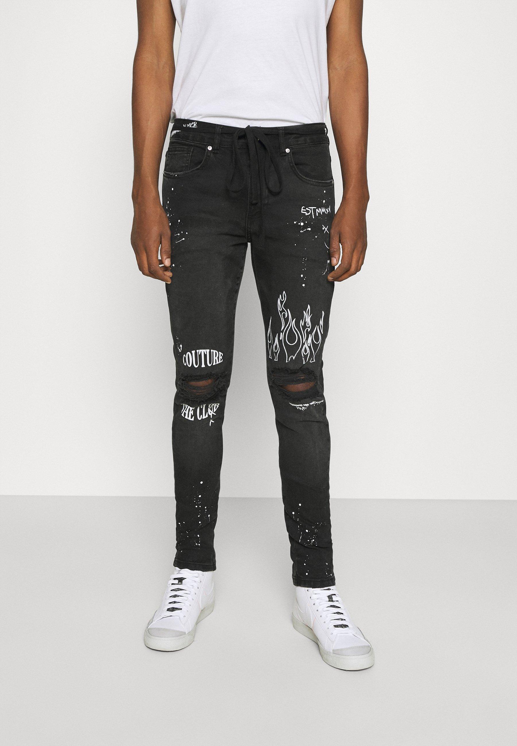 Men EMBROIDERED KNEE GRAFFITI - Slim fit jeans