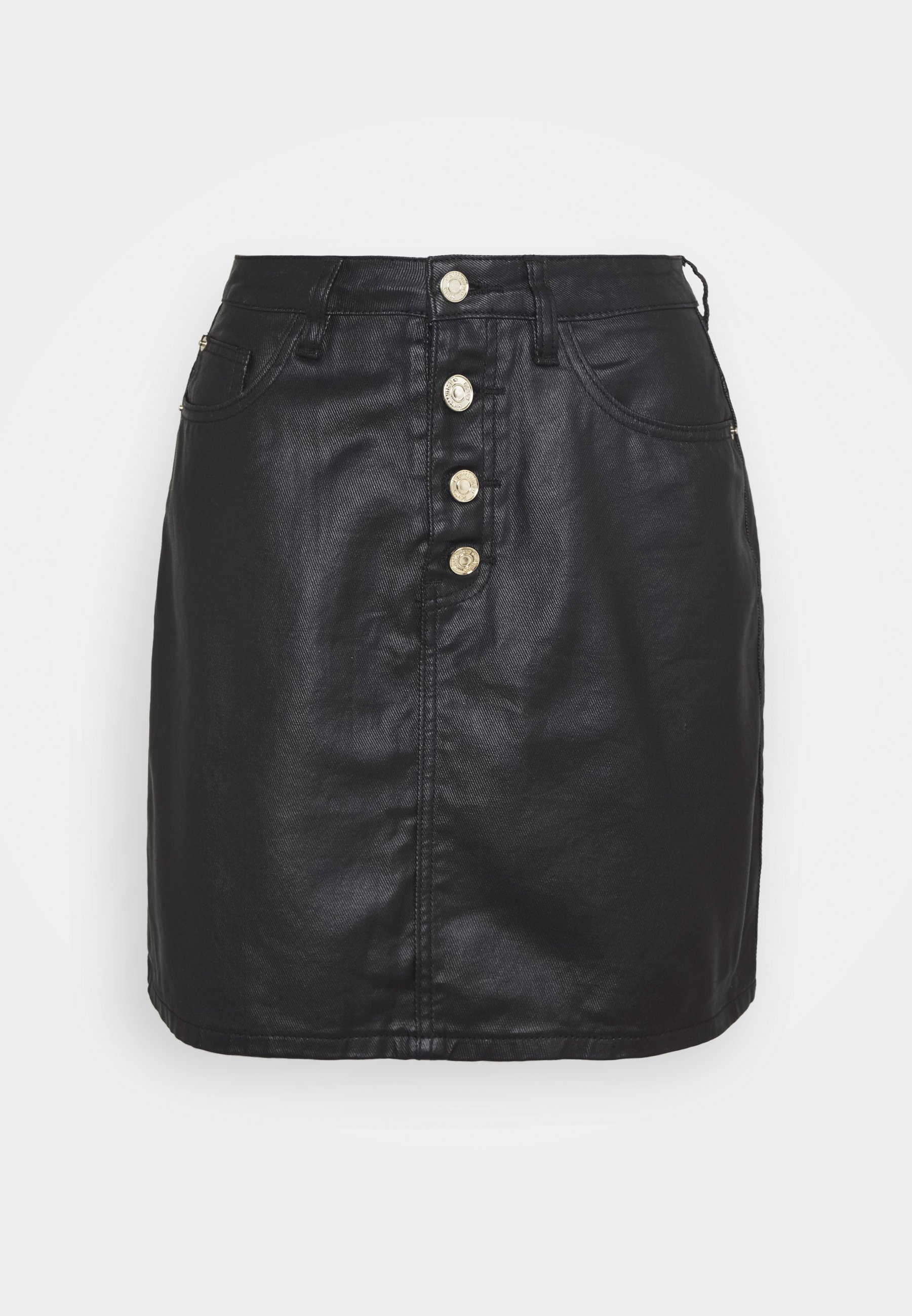 Femme COATED BUTTON MINI SKIRT - Jupe en jean