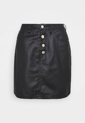 COATED BUTTON MINI SKIRT - Džinsinis sijonas - black