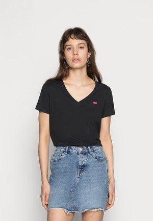 PERFECT V NECK - T-shirt z nadrukiem - caviar