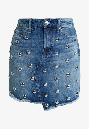 THE STUDDED ASYMMETRIC - Denim skirt - blue
