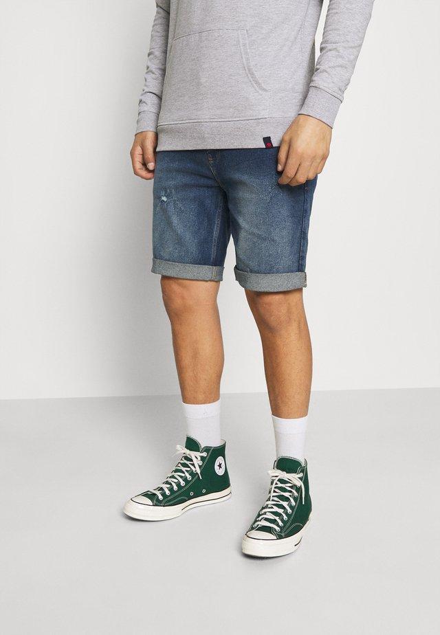 LIGHT DESTROY - Denim shorts - texas blue