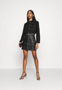 Topshop - HARDWEAR ZIP BIKER SKIRT - A-line skirt - black - 1