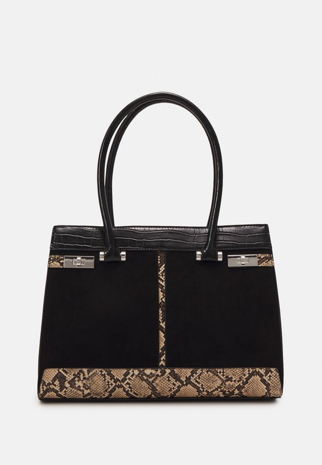 SNAKE CROC TOTE - Shopping bag - black