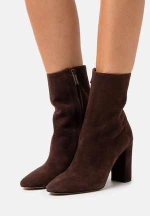 High heeled ankle boots - caffe