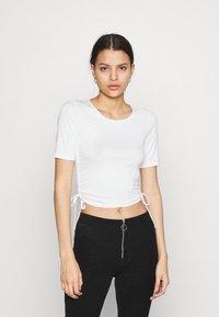 NA-KD - HOSS DRAWSTRING DETAIL - Basic T-shirt - white - 0