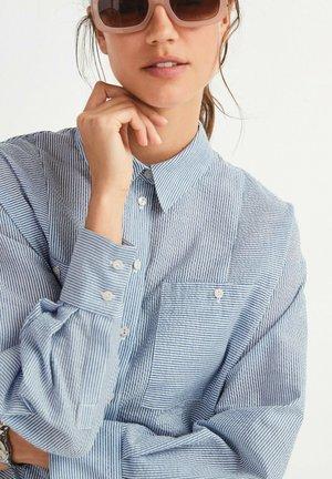 SPLICED STRIPE - Button-down blouse - blue