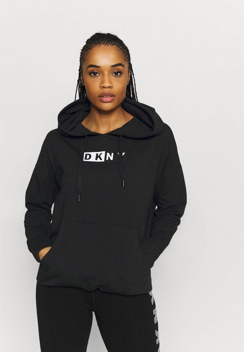 DKNY - TWO TONE LOGO HOODIE - Sweatshirt - black
