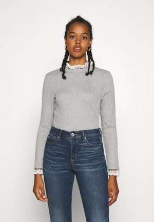 ONLPEARL HIGHNECK - Jumper - light grey melange/white