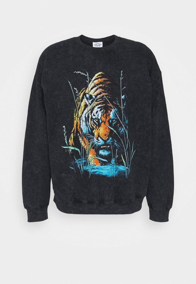 VINTAGE TIGER GRAPHIC UNISEX - Sweatshirt - snow wash black
