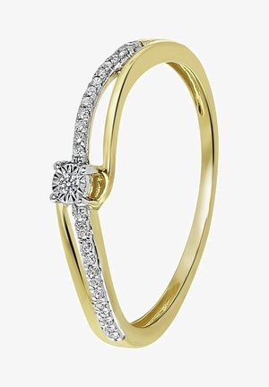 14 CT GOLD, DIAMOND 0,05CT - Ring - gold-coloured, silver