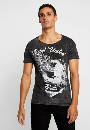 REBELS UNITED ROUND - Print T-shirt - black