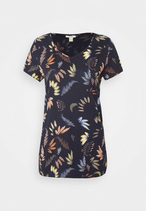 LEAF TEE - Print T-shirt - navy