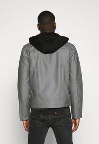 Nominal - HOODED BIKE JACKET - Faux leather jacket - grey - 2