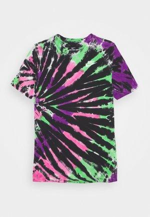 TEE TIE DYE UNISEX - Print T-shirt - black/vivid purple/hyper pink