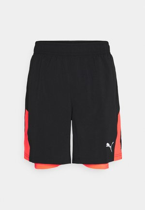 RUN FAVORITE SHORT - Sports shorts - black/lava blast