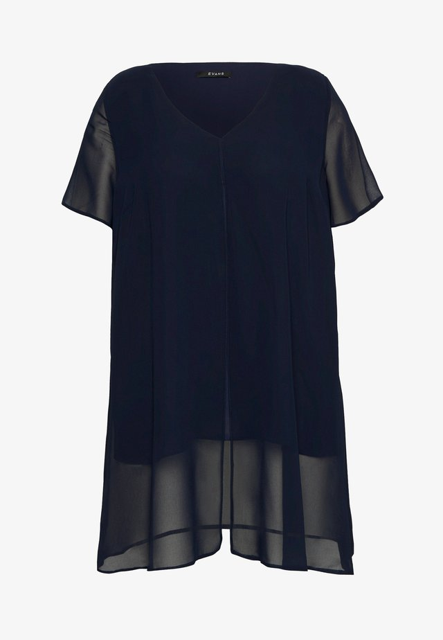 SHORT SLEEVE SPLIT FRONT - Blouse - navy