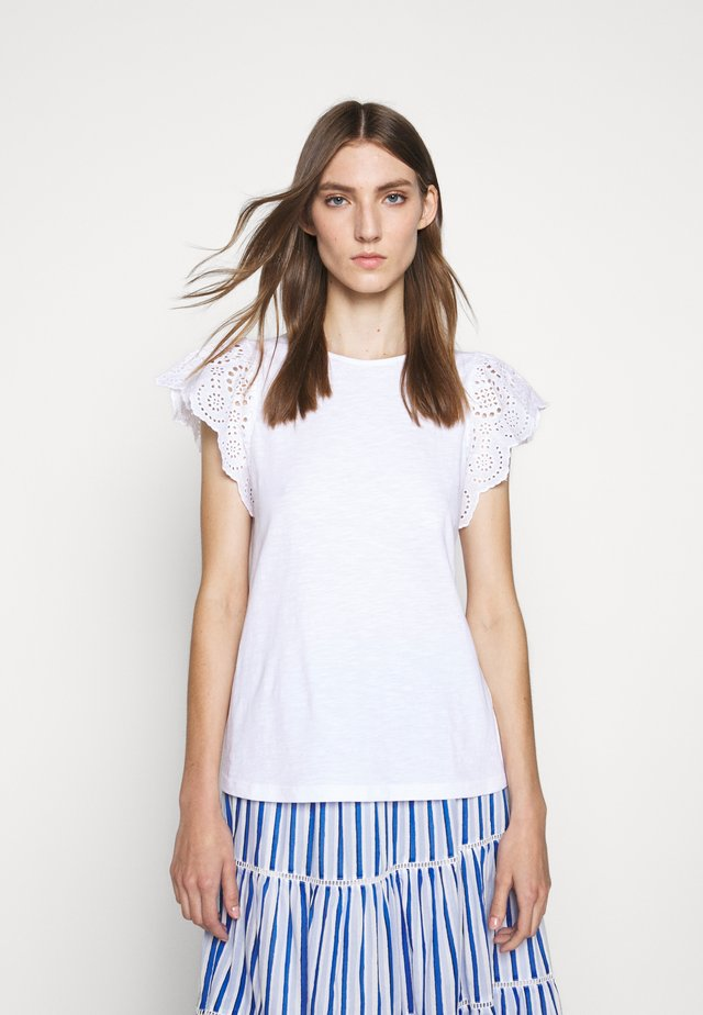 SLUB EYELET FLUTTER SLEEVE TEE - Print T-shirt - white