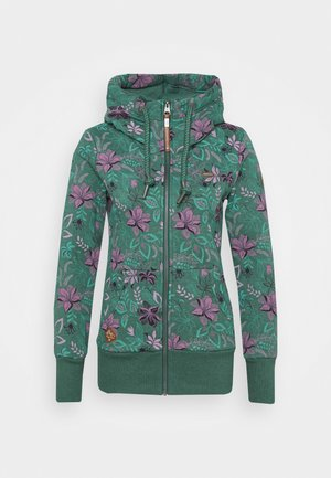 NESKA FLOWERS ZIP - veste en sweat zippée - green